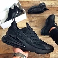 "Nike Air Max 270 ""Pure Black"" Half Palm Air Cushion Jacquard Surface Breathable Cushioning Running Shoes Men's and Women's Sports Shoes"