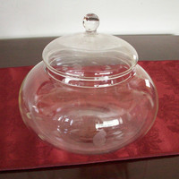 Large Crystal Bowl with Lid, Candy Dish, Vintage Princess House, Heritage Pattern
