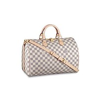 HPASS Speedy 35cm Designer Woman Organizer Handbag Damier Tote Shoulder Bag with Strap