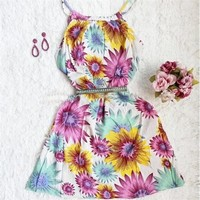 644655 Cute autumn new casual floral sleeveless vest dress | Candy Blue Shop