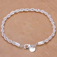 NEW 925 Sterling Silver Women Twisted Rope Solid Bangle Bracelet Chain Wristband = 1945933636