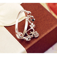 One Piece Crown Rings for Women Simulated Diamond Jewelry