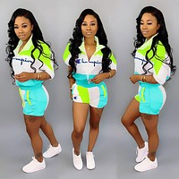 Champion Newest Woman Embroidery Casual Print Short Sleeve Top Shorts Set Two Piece Blue