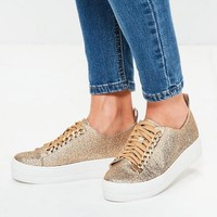 Missguided - Blue Silver Chain Lace Up Flatform Sneakers