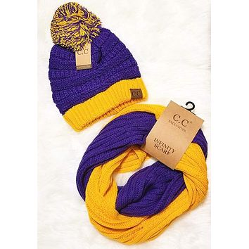 LSU Purple and Gold Game Day CC Beanie and Infinity Scarf Bundle