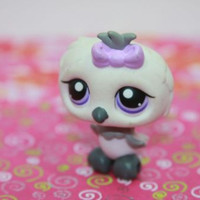 Littlest Pet Shop LPS #449 White and Grey Owl with Purple Eyes & Bow