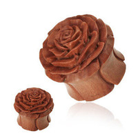 PAIR of Carved Rose Organic Wood EAR PLUGS Gauges Ring TUNNELS Piercing Jewelry