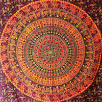 SMALL Brown Mandala Tapestry Wall hanging, Hippie Bohemian Tapestries, Indian Bedding Bedspread, Hippy Boho Ethnic Home Decor