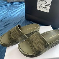 DIOR Hot Sale Embroidered Letter Platform Slippers Ladies Casual Sandals Shoes