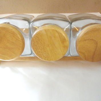 Clear Glass Candy Jar Canister Storage Containers Wood Lids 3 pc set Caddy