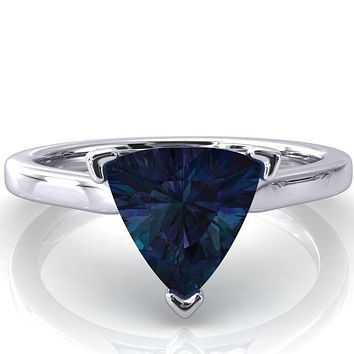 Darci Trillion Alexandrite 3 Prong Cathedral Solitaire Engagement Ring