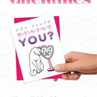 Cat Valentines Day Card, Cute Cat Valentine, Illustrated Valentines, Hand Drawn Love Card, Sweet Valentine Cards, White Cat Valentine, Kitty