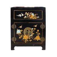 Chinese Black Flower Birds End Tabl Nightstand cs1219S