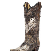 Corral Women's Black-Antique Saddle Studs & Whip Stitch Boot - R1222