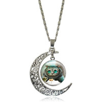 CHESHIRE CAT NECKLACES & PENDANTS ALICE IN WONDERLAND GLASS CABOCHON CRESCENT MOON PENDANT SILVER CHAIN NECKLACE WOMEN JEWELRY