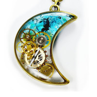 Moon And Star Resin Pendant Steampunk Gears Necklace With Swarovski  Butterfly Crescent Blue Glass Watch Parts , Transparent Necklace