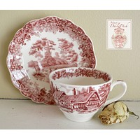 Vintage Red Transferware Tea Cup & Saucer Church Cottage Romantic England