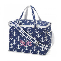 Navy Anchor Cooler Bag Insulated Tote - Monogrammed Personalized Beach Pool