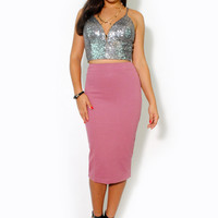 (alt) Sequins cropped plunging silver top
