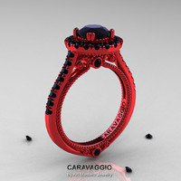 Caravaggio 14K Red Gold 1.0 Ct Black Diamond Engagement Ring, Wedding Ring R621-14KRGBD