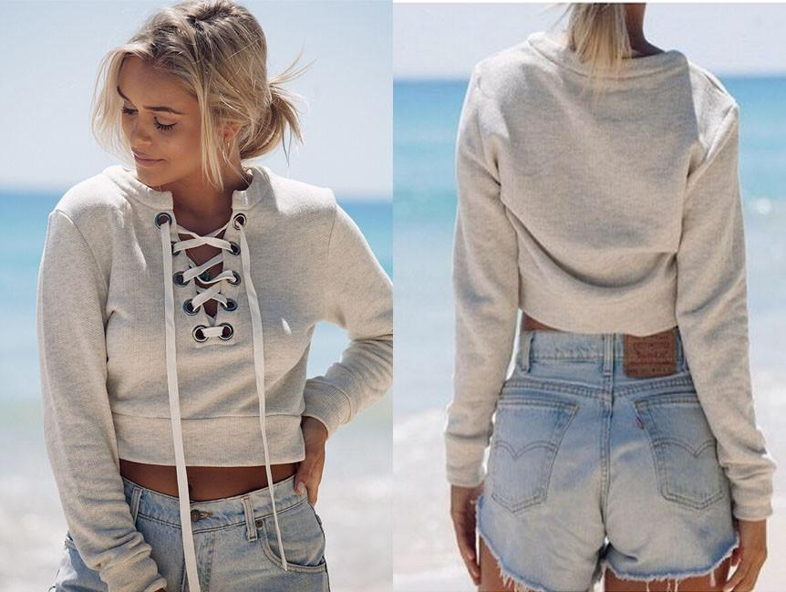 Image of Deep V long-sleeved casual sweater
