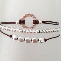 Triple Silver Friendship Bracelet with Adjustable Cord in Brown