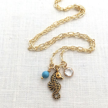 Seahorse Necklace Pendant, Beachy Gold Charm Necklace, Sea Horse Jewelry Gift