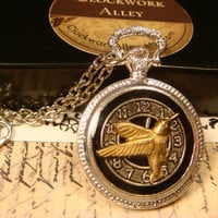 Humming Bird Over Clock Steampunk Pocket Watch Style Pendant Necklace (1786)