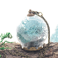 Azure Reindeer Mini Moss Garden Terrarium Necklace, Sky Blue Coral Teal Fairy Garden Woodland Hand Made Jewelry - FAIRY ARCADIA