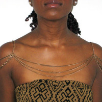 Three layer gold chain shoulder necklace