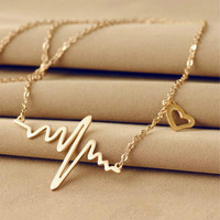 New Charm Heartbeat Necklace Heartbeat Rhythm with Dangling Heart Women Jewelry