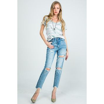 Special A Distressed High Rise Mom Jeans