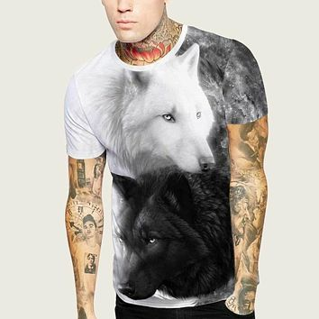 Fashion Casual Men Wolf Print Tee