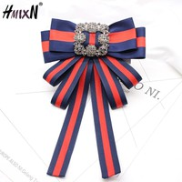 New crystal Vintage Fabric Bow Brooches for Women Neck Tie Imported Material Wedding Party High Quality Clothing Accessories