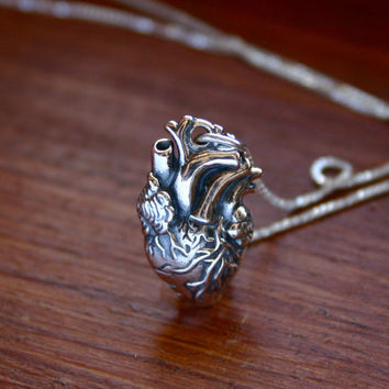 Sterling silver anatomical heart necklace -  sterling silver heart jewelry