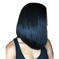 Short Human Hair Bob Wigs For Women Straight Natural Black 130 Density Lace Front  Brazilian Remy
