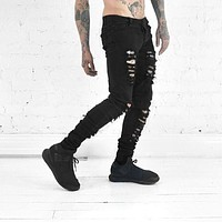 Fashion ripped skinny black jeans men's personality rock style pants homme slim fit pants for men distressed calca biker jeans