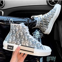Dior CD letter film high-top sneakers New breathable street style hip-hop sneakers Men and women couples high-low top casual shoes