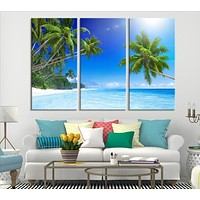 Sea Landscape with Palm Trees Wall Art Canvas Print