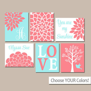 CORAL AQUA Nursery Wall Art, CANVAS or Prints, Baby Girl Nursery Artwork, Personalized Girl Pictures, Sunshine Set of 6 Crib Pictures