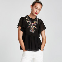 EMBROIDERED DOTTED MESH TOP