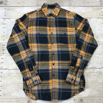 J.CREW Flannel Button Up Plaid Shirt Gold / Blue Mens Size XS