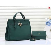 Hermes Popular Women Stylish Leather Handbag Bag Shoulder Bag Crossbody Satchel Set Two Piece Green