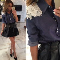 Lace Long-Sleeve Button Collar Shirt