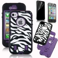 JWS GROUP Zebra Print Case White/black with Purple Shell for Iphone 4/4s