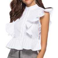 New stand collar irregular ruffled shirt women's sleeveless straight short women's shirt explosion
