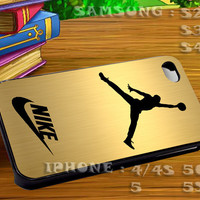 Nike Jordan Gold Plain For iphone 4 iphone 5 samsung galaxy s4 / s3 / s2 Case Or Cover Phone.