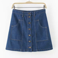 Fashion Brand Skirt Casual Single Breasted Skirts High Waist Short Jeans Skirt Asian/Tag Size S-L