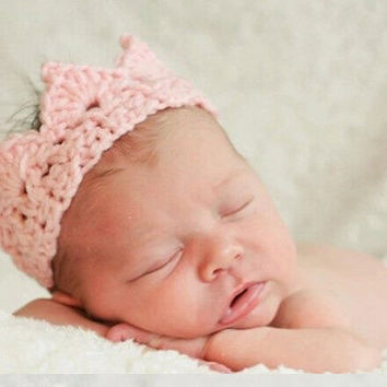 Pink Crochet Newborn Crown - NB Photography Prop -  Baby Knitted Headband - Baby Shower Gift - First Photo