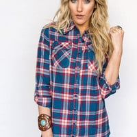 Plaid Flannel Checkered Shirt In Blue